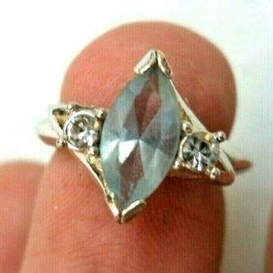 vintage Avon light blue crystal ring silver 5.5